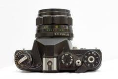 Hefbomen en knopen om de oude camera te controleren stock afbeelding