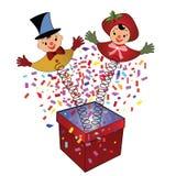 Hefboom-in-de-doos - stuk speelgoed   Stock Foto's