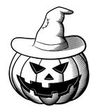 Hefboom-o-lantaarn en witchs hoed royalty-vrije illustratie