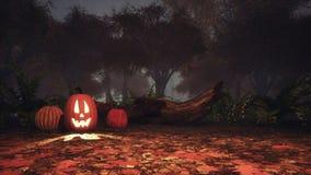 Hefboom-o-lantaarn pompoen in griezelig bos bij schemer royalty-vrije illustratie