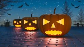 Hefboom-o-lantaarn pompoenen Halloween-3d teruggeven het als achtergrond Stock Fotografie