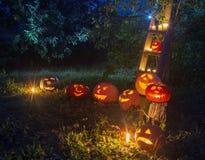 Hefboom-o-lantaarn pompoenen openlucht royalty-vrije stock foto