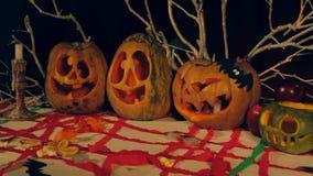Hefboom O'lantern die Samenstelling maken voor Halloween stock videobeelden