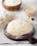 Hefe-gegorener Teig, Pizza, Brot mit Mehl und Weizenspitzen lizenzfreie stockfotografie