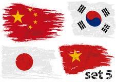 Heftige Flagge China, Südkorea, Japan und Vietnam Lizenzfreie Abbildung