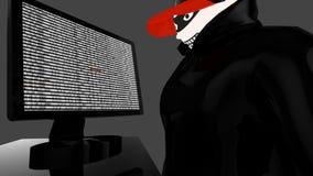 Heftiger Hacker mit der schwarzen Mantel- und Baseballmützespionage Stockfoto