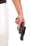Heftiger Mann, der Gewehr hält Stockbild