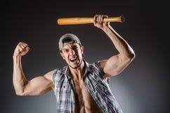 Heftiger Mann mit Baseball Lizenzfreie Stockfotos