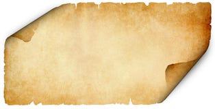 Heftiges altes Pergament auf weißem Hintergrund Stockbild