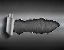 Heftiges Metall mit zerrissener Illustration des Lochs 3d lizenzfreies stockfoto