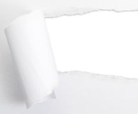Heftiges Papierblatt mit einem leeren Abstandsloch stockbild