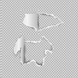 Heftiges Papierrealistisches, Löcher im Blatt Papier auf einem transparenten Hintergrund Stockfotografie