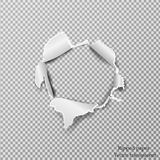 Heftiges Papierrealistisches, Loch im Blatt Papier auf einem transparenten Hintergrund Lizenzfreies Stockfoto