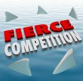 Heftiges Wettbewerbs-Haifisch-Flossen-Wasser-schwieriges Herausforderungs-Spiel Stockbild