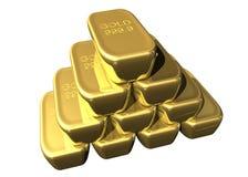 Heftklammer der Goldstäbe Stockbild