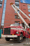 Heftoestelvrachtwagen op bouwwerf Royalty-vrije Stock Foto's