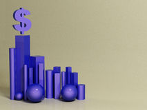 Hegemony of the dollar. abstract background. 3d stock illustration