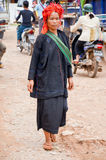 HEHO, MYANMAR, IL 12 SETTEMBRE 2016: Donna al mercato di Heho, Shan State, Myanmar Birmania della tribù di Pao immagine stock