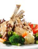 Heiße Fleisch-Teller - Hauptrippe-Braten-Schweinefleisch Stockfoto