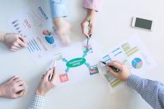 Heiße Geschäfts-Diskussion auf weißer Tischplatte-Ansicht stockbilder
