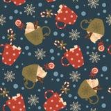 Heiße Getränke und Süßigkeiten der Winterurlaube Vector nahtloses Muster lizenzfreie abbildung