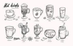 Heiße Getränke Vektor-Weihnachtswinterkollektion Verschiedene Getränke in der Skizzenart Kaffee, Tee, Glühwein, Durchschlag, Grog Lizenzfreies Stockfoto