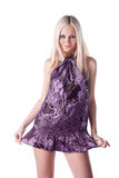 Heiße junge Frau im kurzen Kleid Stockbilder