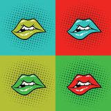 Heiße Lippenvektor-Illustrations-Pop-Art Lizenzfreie Stockfotografie