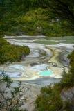 Heiße Quellen in thermischem Märchenland Waiotapu, Neuseeland lizenzfreies stockbild