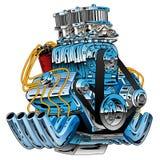 Heiße Rod Race Car Dragster Engine-Karikatur-Vektor-Illustration stock abbildung