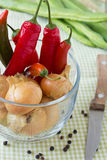 Heiße rote Pfeffer und Zwiebeln in einer Schüssel Lizenzfreies Stockfoto