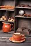 Heiße Schokolade der Collage Stockfotos