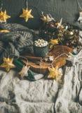 Heiße Schokolade des Weihnachtswinters mit marshmellows und Zimt, Kopienraum lizenzfreie stockbilder