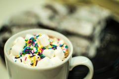 Heiße Schokolade in einem Becher mit besprüht und Eibische lizenzfreie stockbilder