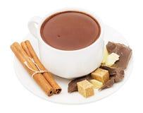 Heiße Schokolade in einem weißen Cup Lizenzfreies Stockfoto