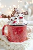 Heiße Schokolade mit geschmolzenem Eibischren stockbilder