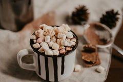 Heiße Schokolade mit marsmallow Süßigkeiten, Winter süßes drin wärmend stockfotos