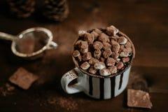 Heiße Schokolade mit marsmallow Süßigkeiten, Winter süßes drin wärmend lizenzfreie stockbilder