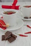Heiße Schokolade mit Paprika Stockbild