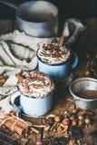 Heiße Schokolade mit Schlagsahne, Zimtstangen und Nüssen lizenzfreie stockfotos