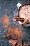 Heiße Schokolade mit Zimt lizenzfreie stockbilder