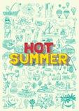 Heiße Sommertätigkeiten kritzelt wie Fischen, Strandtalball, BBQ-Partei, Heißluftballonfiesta, das Tauchen und fährt, Musikfestiv Stockfotos