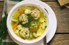 Heiße Suppe mit Fleischklöschen und Kräutern Stockfotografie