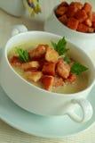 Heiße Suppe mit Toast in einer Schüssel Lizenzfreie Stockfotos