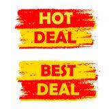 Heiße und beste Abkommen-, Gelbe und Rotegezeichnete Aufkleber lizenzfreie abbildung