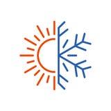Heiße und kalte Ikone Sun, Schneeflockensymbol Lizenzfreie Stockbilder