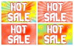 Heiße Verkaufsfahnen stellten auf einen hellen Hintergrund mit dem Ausstrahlen von Strahlen ein Stockfotos