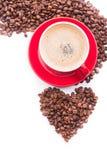Heißer Cappuccino mit der Milch schaumig stockfotografie