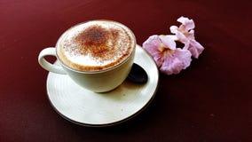 Heißer Cappuccino- oder Lattekaffee stockfotografie