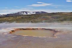 Heißer Dampf, der vom kochenden Wasser im Mittel-Island im geothermischen Bereich von Hveravellir kommt Stockfotos